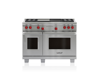 Wolf 122 cm Dual Fuel Range - 4 Burners, Infrared Chargrill and Infrared Teppanyaki ICBDF484CG