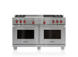 Wolf 152 cm Dual Fuel Range - 4 Burners, Infrared Chargrill and French Top ICBDF604CF