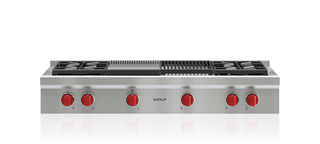 Wolf 122 cm Sealed Burner Rangetop - 4 Burners, Infrared Chargrill and Infrared Teppanyaki ICBSRT484CG