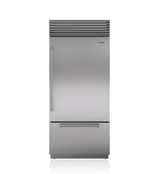 Sub-Zero 91 CM Classic Over-and-Under Refrigerator/Freezer with Internal Dispenser ICBBI-36UID/S