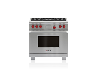 Wolf 91 cm Dual Fuel Range - 4 Burners and Infrared Chargrill ICBDF364C