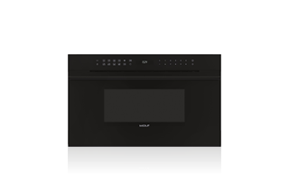 Wolf 76 cm E Series Contemporary Drop-down Door Microwave Oven ICBMDD30CM/B/TH with Black Handle